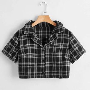 John Galt Brandy Melville urban Outfitters Vivian Top Plaid Collared Cropped O/S